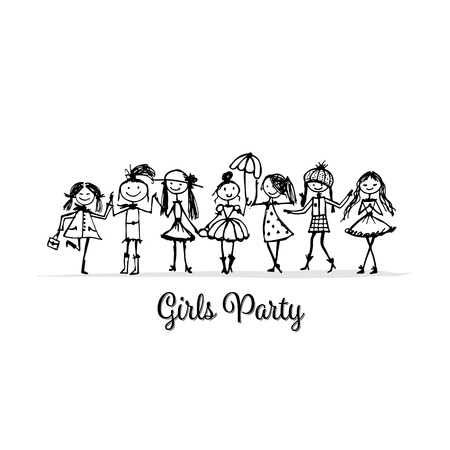 Girls party, sketch for your design. Vector illustration Stock Vector - 126551041