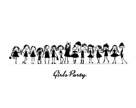 Girls party, sketch for your design. Vector illustration