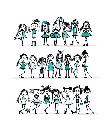 Fashion girls collection, sketch for your design. Vector illustration Illustration