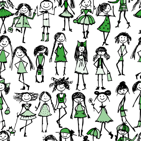 Fashion girls, seamless pattern for your design. Vector illustration  イラスト・ベクター素材