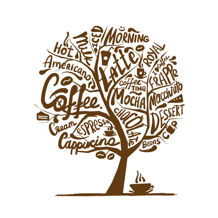 Cofee time. Art tree for your design. Vector illustration 矢量图像