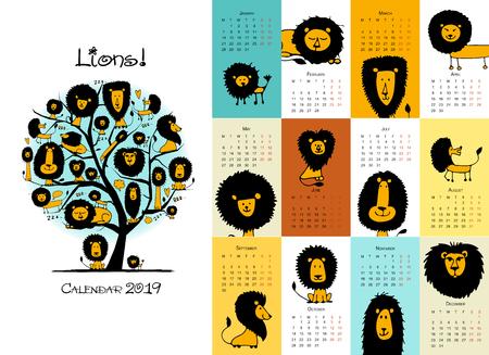 Funny lions, calendar 2019 design. Vector illustration