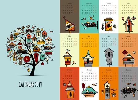 Nichoirs sur arbre, conception du calendrier 2019. Illustration vectorielle