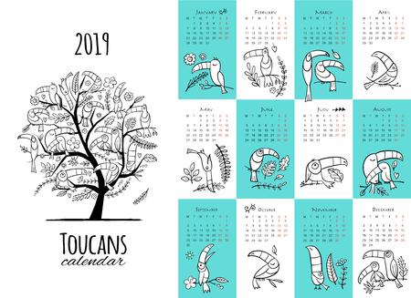 Toucans, calendar 2019 design. Vector illustration Ilustrace