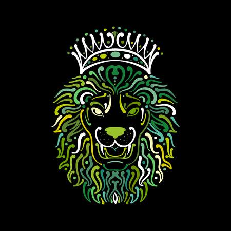 Lion face logo, sketch for your design