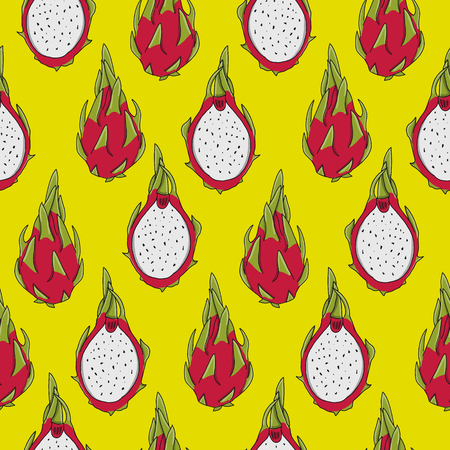Dragonfruits, seamless pattern for your design. Vector illustration