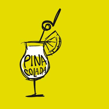 Cocktail pina colada, sketch for your design. Vector illustration Vektorové ilustrace