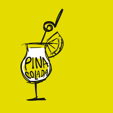 Cocktail pina colada, sketch for your design. Vector illustration
