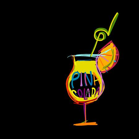 Cocktail pina colada, sketch for your design. Vector illustration