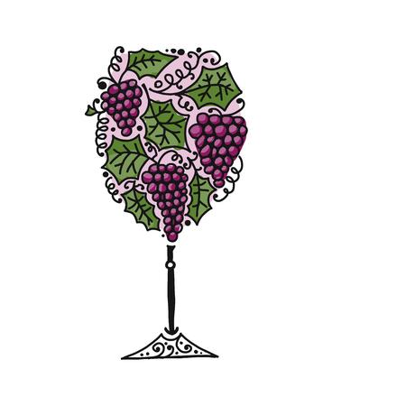 Verre à vin, esquisse pour votre conception Vecteurs