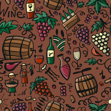 Winery, seamless pattern for your design Stock Vector - 114808653