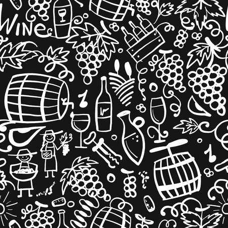 Winery, seamless pattern for your design Stock Vector - 114808341