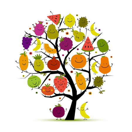 Tree with funny fruits for your design