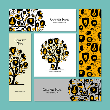 Business cards design, funny lions Illustration