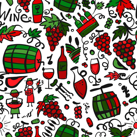Winery, seamless pattern for your design Stock Vector - 114808349
