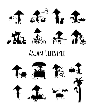 Asian lifestyle, people silhouettes for your design Çizim