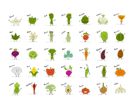 Funny smiling vegetables and greens, characters for your design. Vector illustration