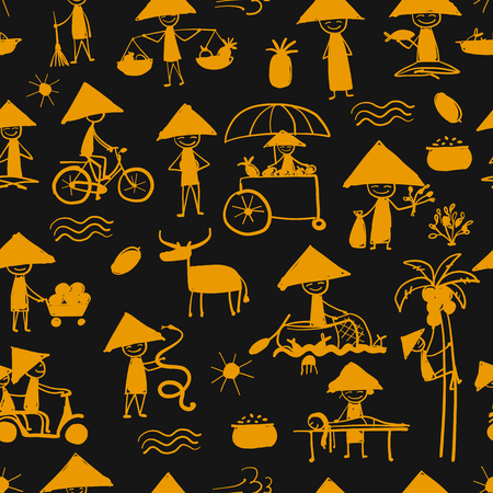 Asian lifestyle people, seamless pattern for your design Banque d'images - 114808660