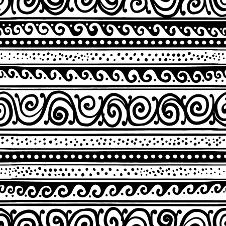 Abstract vintage border, seamless pattern for your design. Vector illustration Banque d'images - 126325276