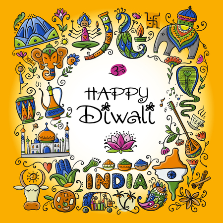 Indian diwali festival holiday. Sketch for your design