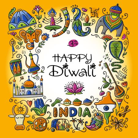 Indischer Diwali-Festivalfeiertag. Skizze für Ihr Design
