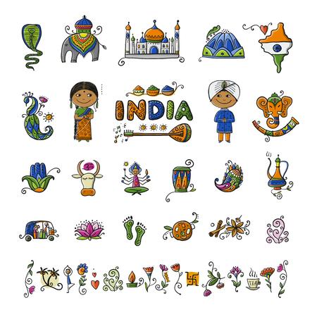 India, conjunto de iconos. Boceto para su diseño. Ilustración vectorial