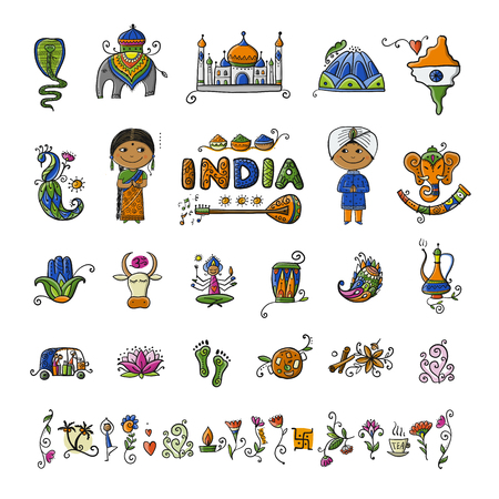 India, icons set. Sketch for your design. Vector illustration