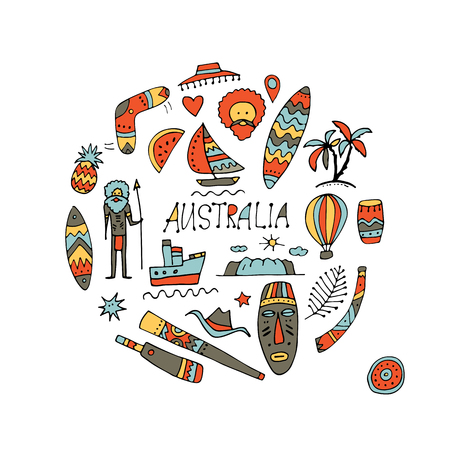 Australia icons set, sketch for your design. Vector illustration