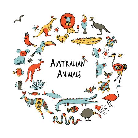 Australian animals set, sketch for your design. Vector illustration