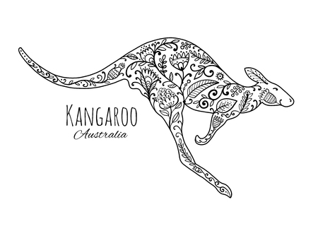 Ornate kangaroo, sketch for your design. 向量圖像