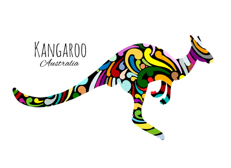 Ornate kangaroo, sketch for your design. Ilustração
