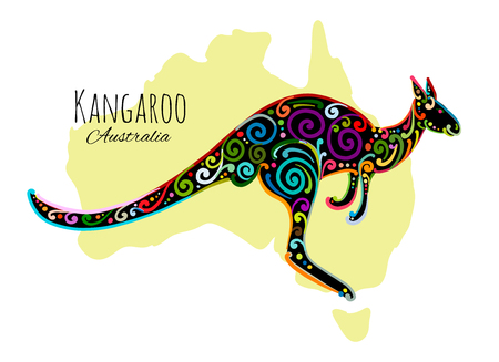 Ornate kangaroo, sketch for your design. Ilustracja