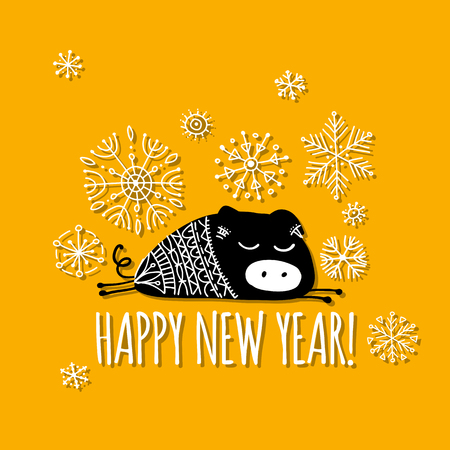 Christmas card with funny pig, symbol of 2019 year for your design Stock Vector - 116447887