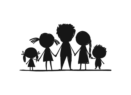 Happy family together, sketch for your design. Vector illustration