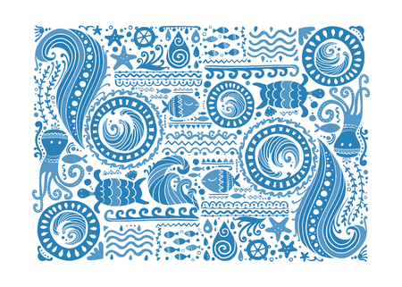 Polynesian style marine background, tribal ornament for your design