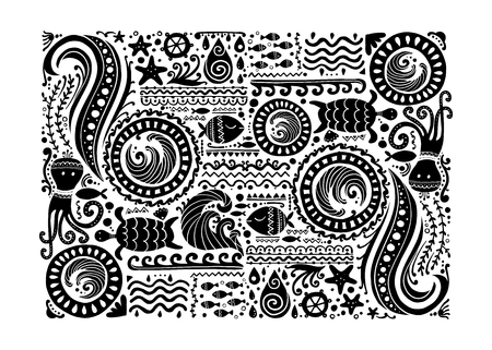 Polynesian style marine background, tribal ornament for your design Vector Illustration