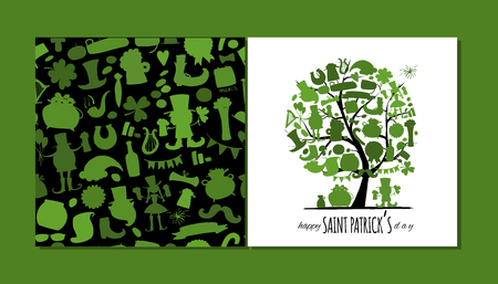 Saint Patrick Day, art tree. Greeting card for your design. Vector illustration 向量圖像