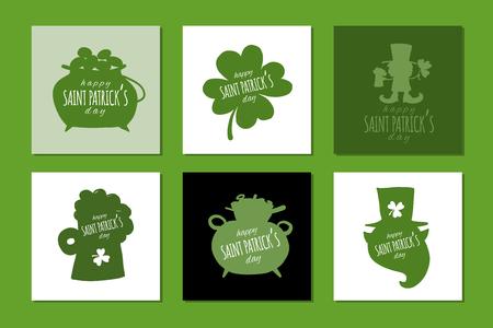 Saint Patrick Day. Greeting cards set for your design. Vector illustration