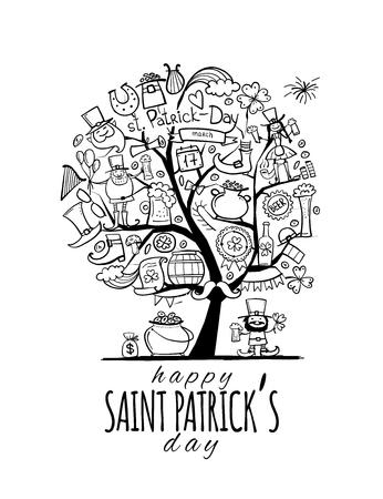 Saint Patrick Day, art tree. Invitation banner for your design. Vector illustration