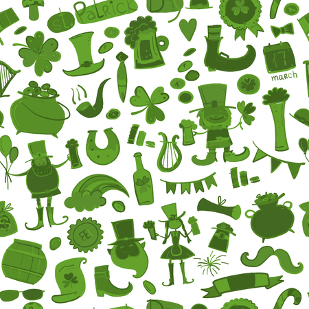 Saint Patrick Day, Seamless pattern for your design. Vector illustration
