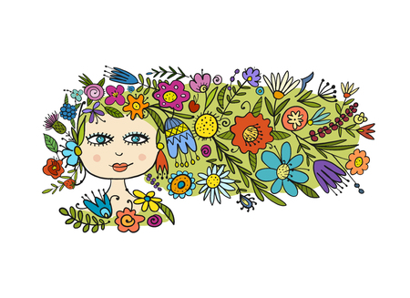 Greeting card design with pretty floral woman. Vector illustration Çizim
