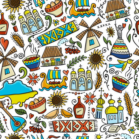 Viaja a Ucrania. Patrones sin fisuras para su diseño. Ilustración vectorial