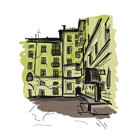 Old apartment house, sketch for your design Stok Fotoğraf - 119217612
