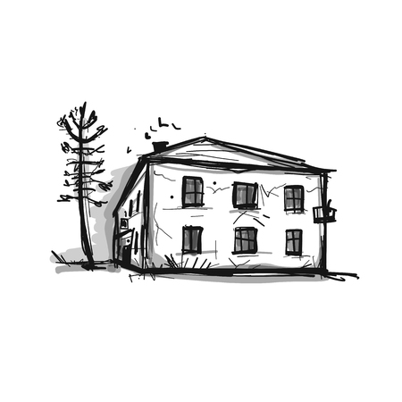 Old house, sketch for your design