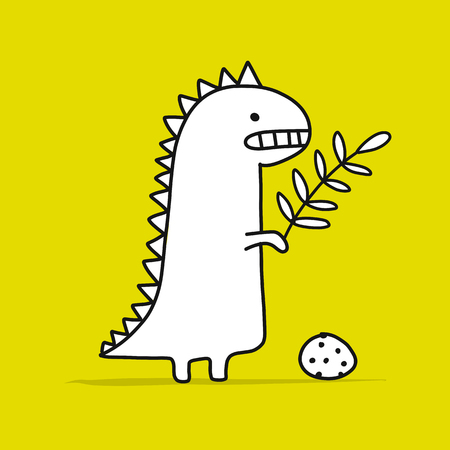 Funny dinosaur, childish style. Sketch for your design