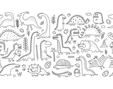 Funny dinosaurs. Seamless pattern for your design. Vector illustration