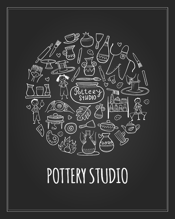 Pottery studio, background for your design 向量圖像
