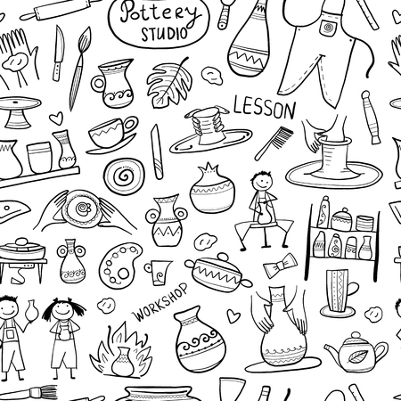 Pottery studio, seamless pattern for your design Vector Illustration