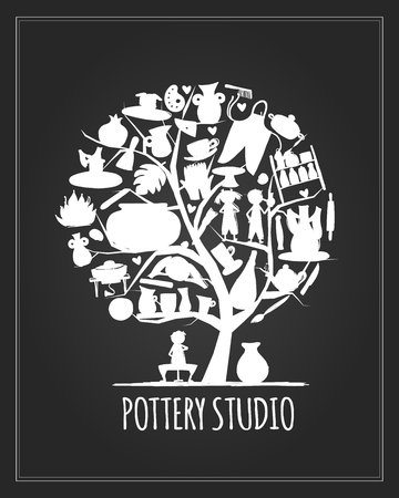 Pottery studio banner, art tree for your design