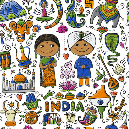Indian lifestyle. Seamless pattern for your design. Vector illustration 向量圖像